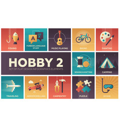Hobby - set of flat design infographics elements vector