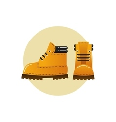 Image of orange trekking boots vector