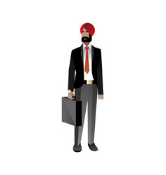 Indian bearded businessman with leather suitcase vector