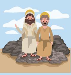 Jesus nazarene and john in scene in desert vector