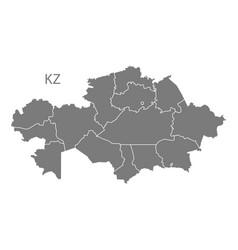 Kazakhstan provinces map grey vector