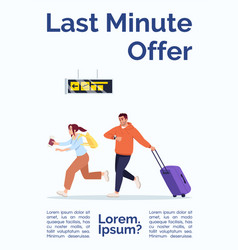 Last minute offer poster template passengers in vector