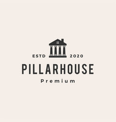 Law pillar house hipster vintage logo icon vector