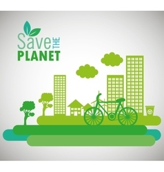 Lets save the world environmental city and bike vector