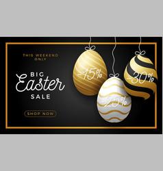 luxury easter egg sale horizontal banner golden vector image