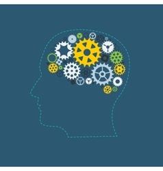 Machine Gear Wheel Cogwheel Human Brain Concept vector