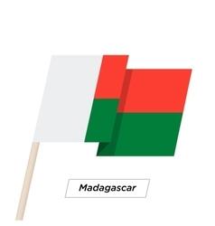 Madagascar Ribbon Waving Flag Isolated on White vector