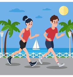 Man and woman running on seaside promenade vector