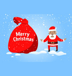 merry christmas santa claus with a big sack of vector image