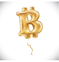 metallic gold b bitcoin symbol balloons golden vector image