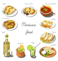 Mexican cuisine set Collection of food dishes vector image