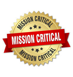 Mission critical round isolated gold badge vector
