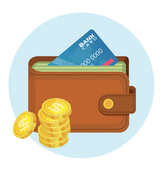 Money in wallet flat design for business vector