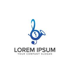 Music saxophone logo design concept template vector