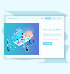 Nano technology isometric landing page vector