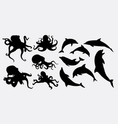 Octopus and dolphin animal silhouette vector
