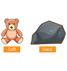 Opposite adjectives words with soft and hard vector