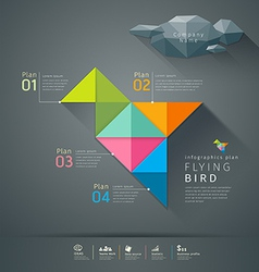 Origami colorful paper flying bird infographic vector image