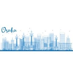 Outline Osaka Skyline with Blue Buildings vector image