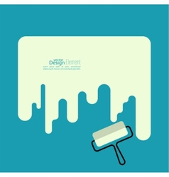 Paint roller with a strip of paint vector image