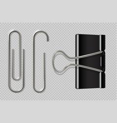 paper clips realistic binder paper holder vector image