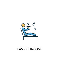 passive income concept 2 colored line icon simple vector image