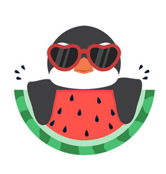 Penguin with fresh watermelon vector