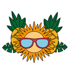 Pineapple sun with sunglasses tropical summer vector