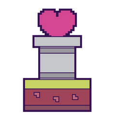 Pixelated heart love life game arcade vector