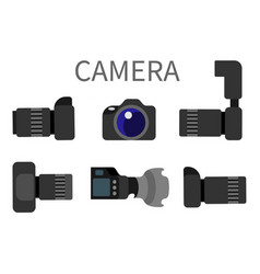 professional digital photo cameras set with lens vector image