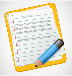 realistic notepad icon with blue pencil vector image