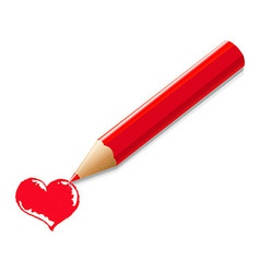 Red Pencil With Heart vector image vector image