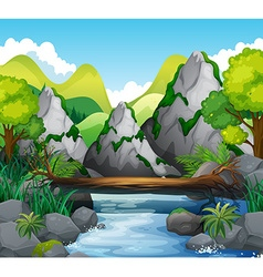 Scene with mountains and river vector