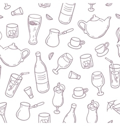 Seamless pattern with outline style drinks in vector image