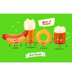 set beer characters cute cartoons vector image