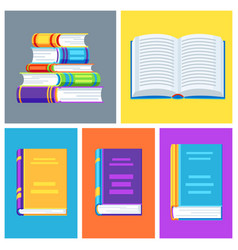 set book icons vector image