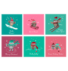 set greeting card with cute owls vector image