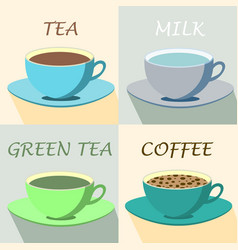 Set of coffee and tea cups vector