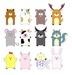 Set of cute animals cartoon vector
