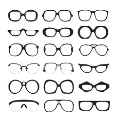 set of glasses Retro wayfarer geek vector image