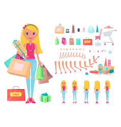 shopaholic girl with shopping bags and carts set vector image
