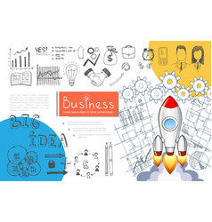 sketch business startup infographic concept vector image