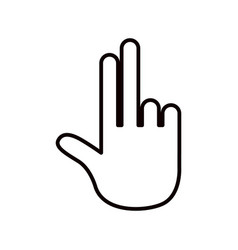 Sketch silhouette hand showing two fingers icon vector