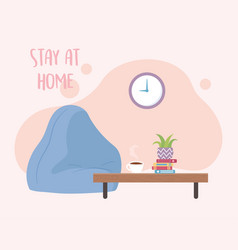 Stay at home bean chair clock table with coffee vector