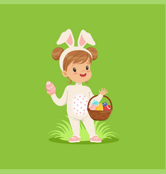 Sweet little girl with bunny ears and rabbit vector