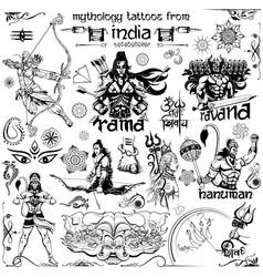 tattoo art design lord rama ravana and hanuman vector image