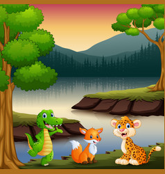the animals are enjoying nature by the lake vector image