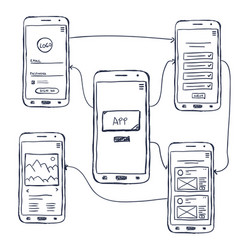 Ui mobile app wireframe doodle vector