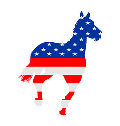 Usa flag over elegant racing horse in gallop vector