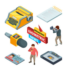 video news and journalistic isometric pictures vector image